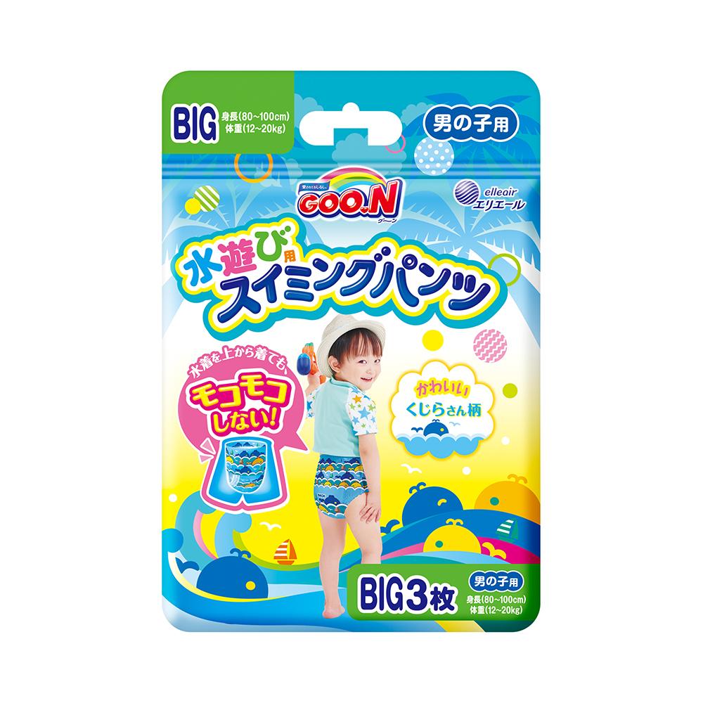 GOO.N 日本大王戲水褲(游泳專用紙尿褲)男XL(BIG)-3片/包