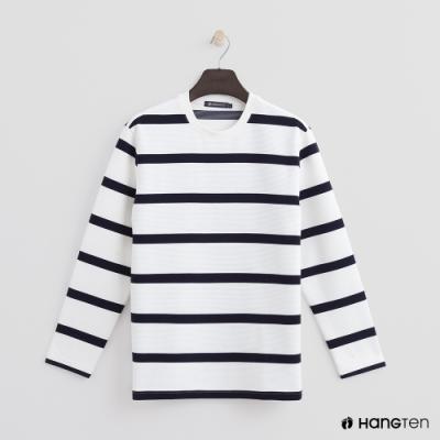 Hang Ten - 男裝 - 簡約配色條紋圓領上衣 - 白