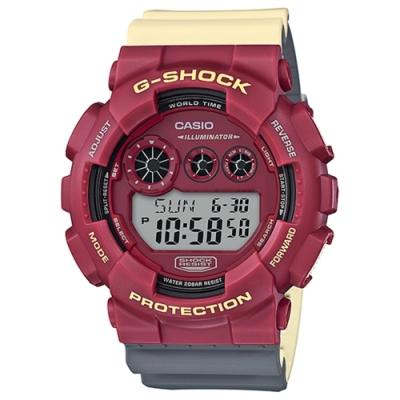 CASIO卡西歐G-SHOCK系列撞色手錶(GD-120NC-4)-紅黃灰/ 51.2mm