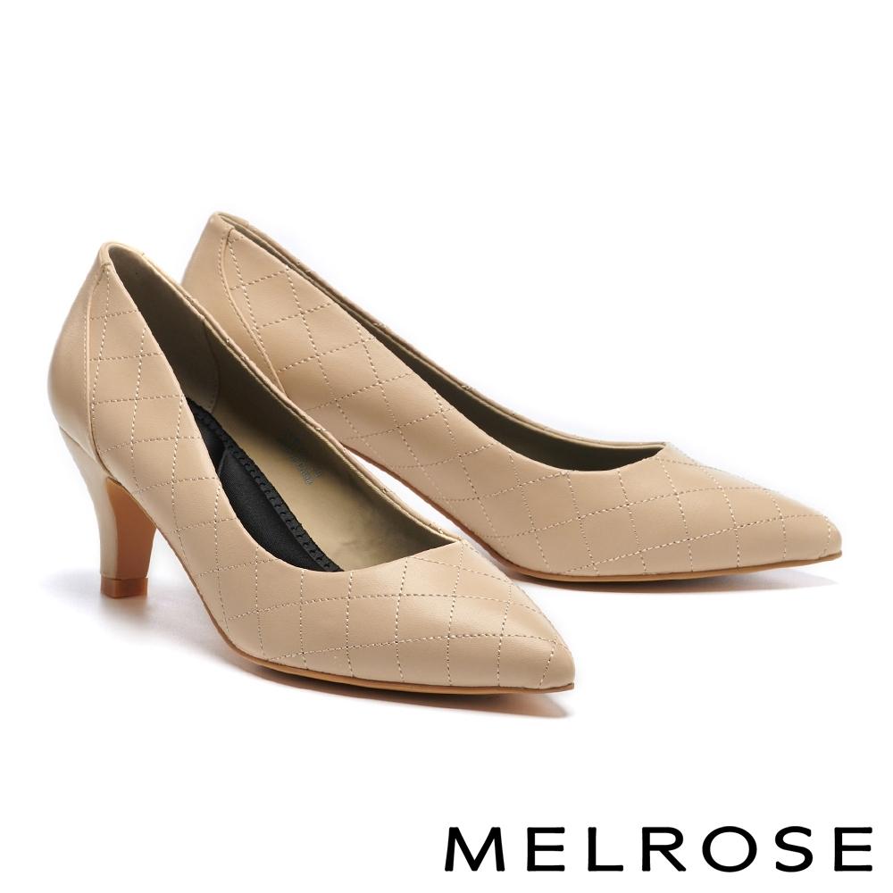 高跟鞋 MELROSE 復刻時尚菱格紋造型尖頭高跟鞋-米
