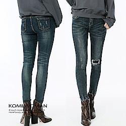 【KOMI】彈性窄管小破損感牛仔褲-M/L