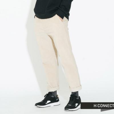 H:CONNECT 韓國品牌 男裝 - 鬆緊抽繩絨面長褲 - 卡其