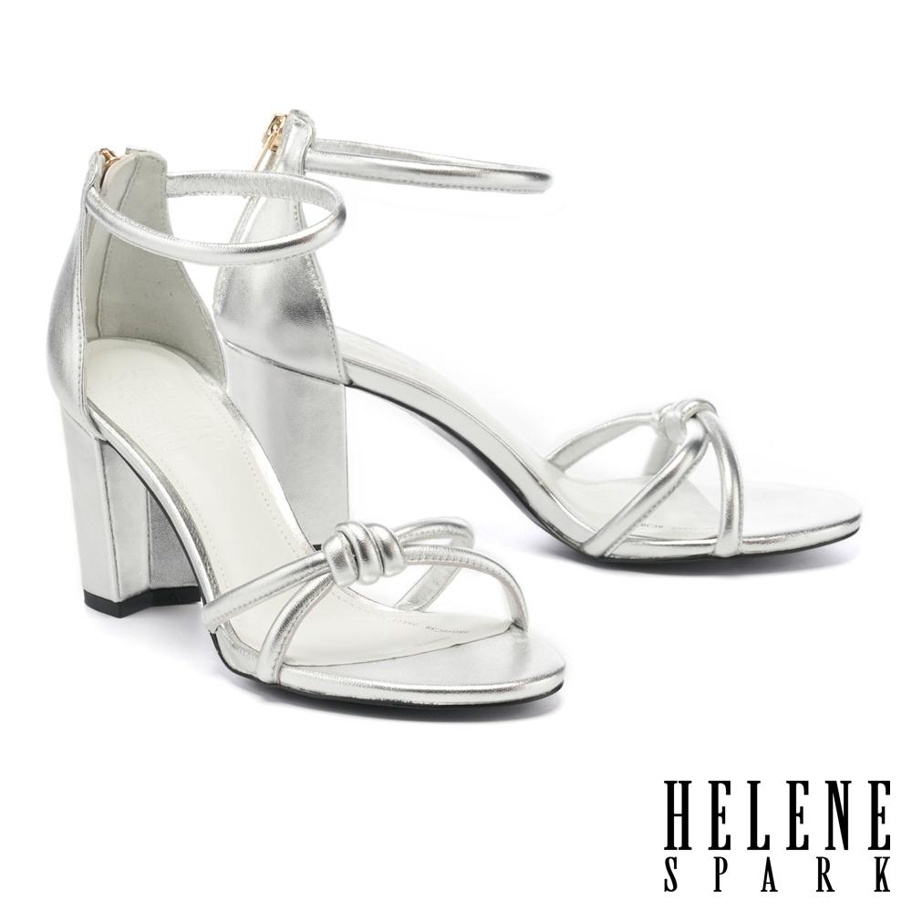 涼鞋 HELENE SPARK 簡約時髦扭結繫帶粗高跟涼鞋-銀