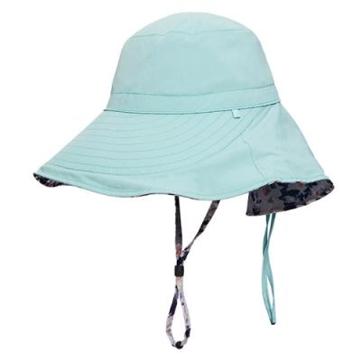 荒野【wildland】女抗UV印花雙面優雅遮陽帽湖水綠