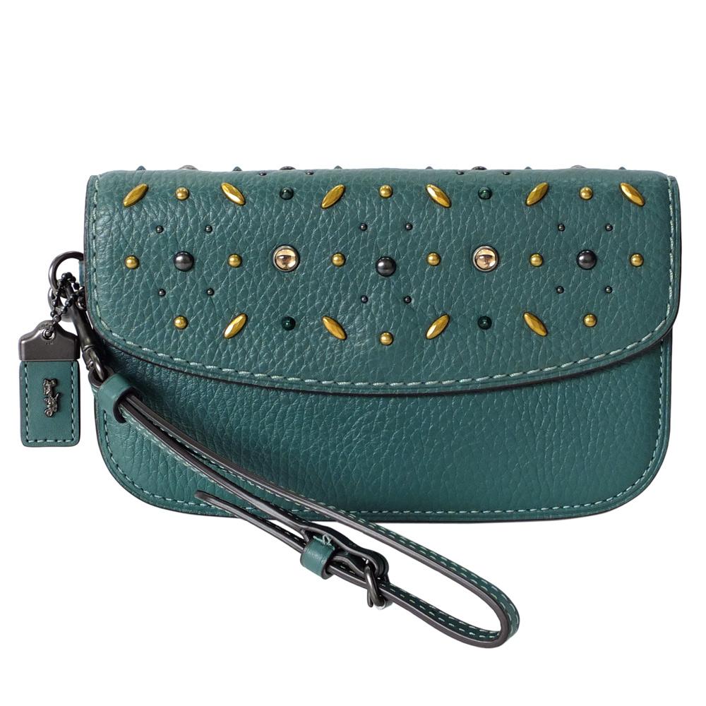COACH湖水綠全皮鉚釘寶石貼飾內雙層翻蓋晚宴手拿包