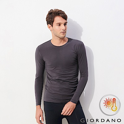GIORDANO 男裝Beau-warmer plus 彈力圓領極暖衣-07 標誌灰