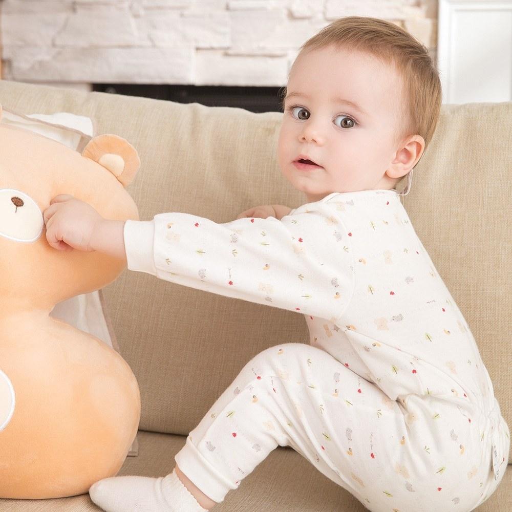 奇哥 森林小熊嬰兒長褲-砂磨布(3-18個月)