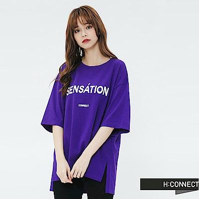 H:CONNECT 韓國品牌 女裝-側開岔標語圓領T-shirt-紫