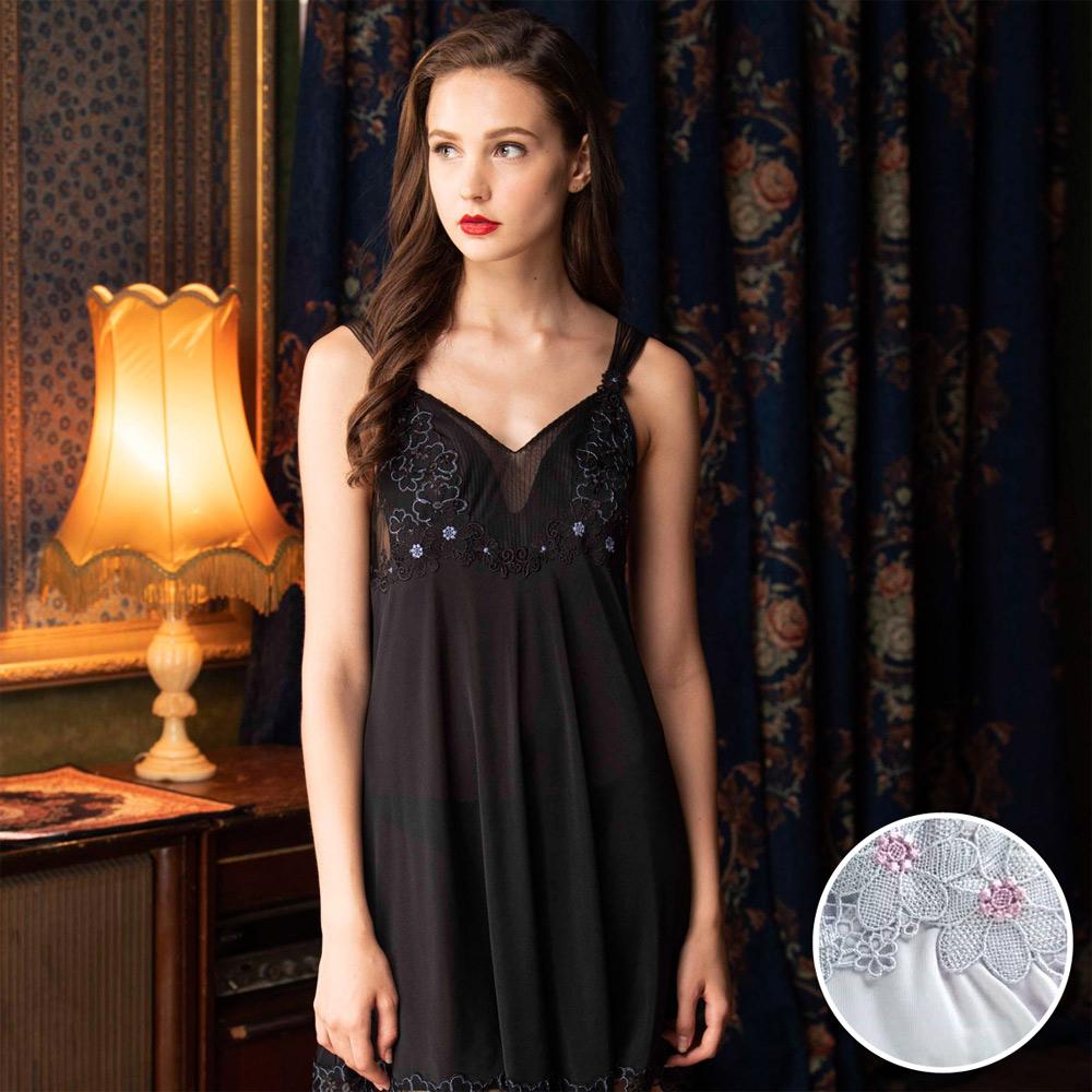 華歌爾睡衣-優雅奢華超細針織 M-L 一件式裙款(紫)性感系列