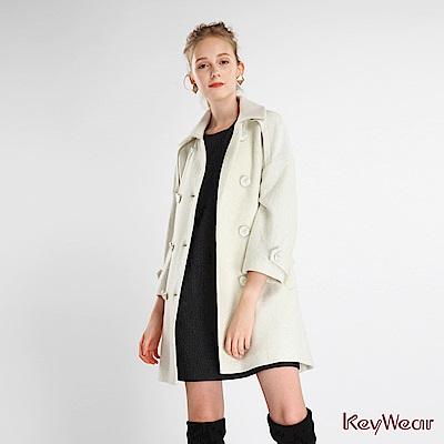 KeyWear奇威名品    毛料翻領七分袖大衣-淺米色