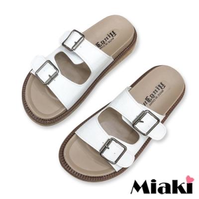 Miaki-拖鞋經典雙扣厚底涼拖-白