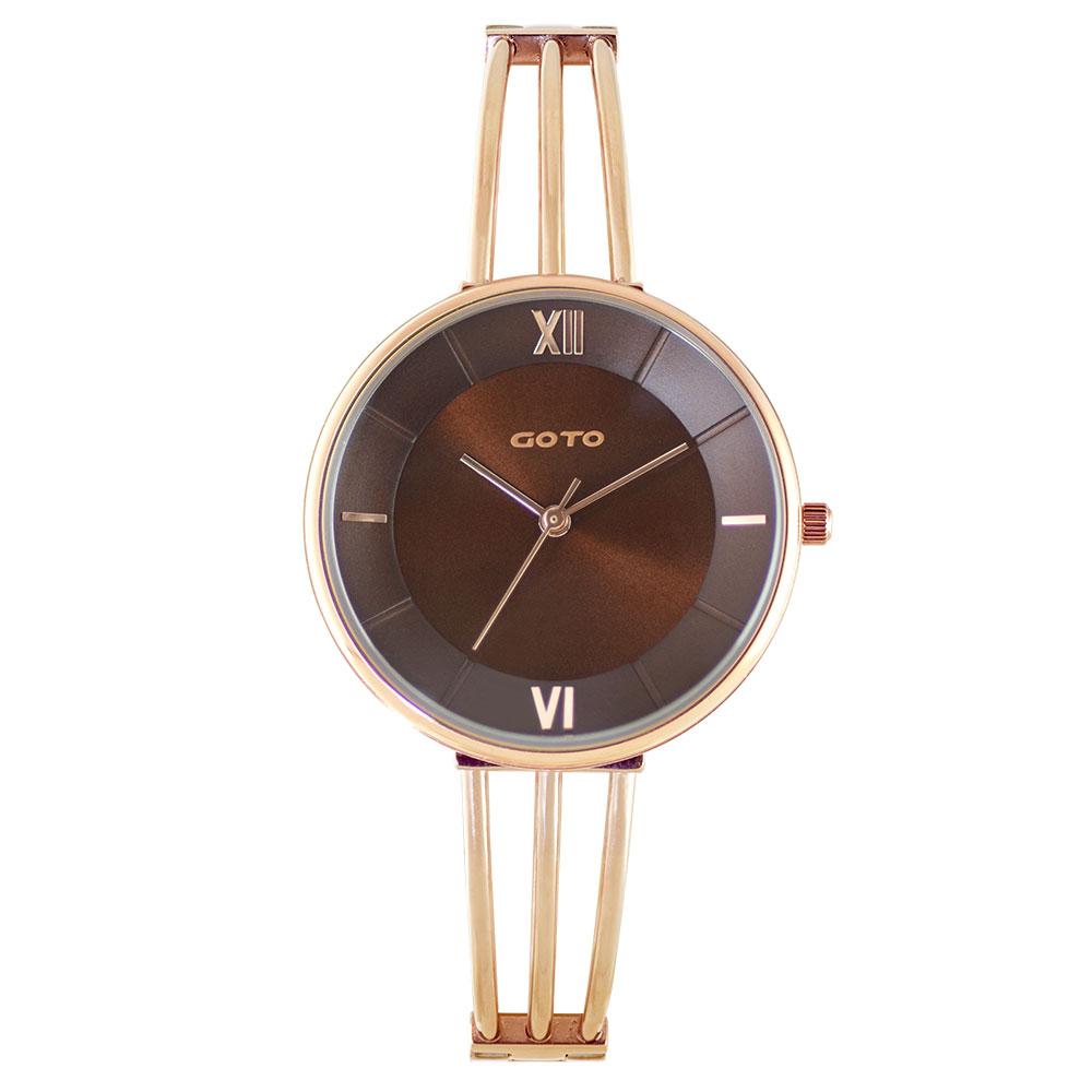GOTO Marine 海洋系列時尚手錶-IP玫x咖/33mm