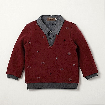 PIPPY 紳士刷毛假兩件式上衣 紅