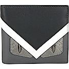 FENDI Bag Bugs 魔魔造型眼睛對折短夾(黑x灰)