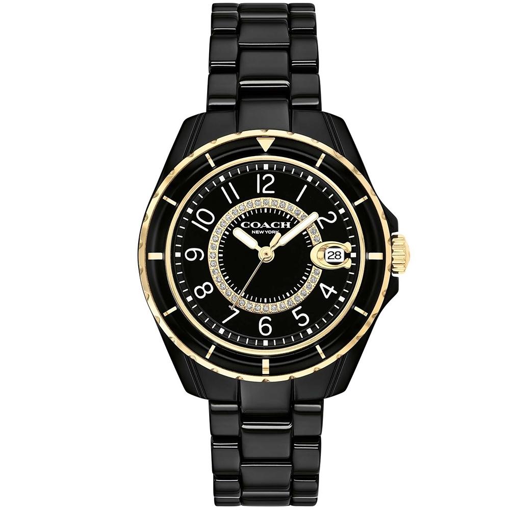 COACH 時尚小香款晶鑽陶瓷腕錶(14503461)-黑/32mm