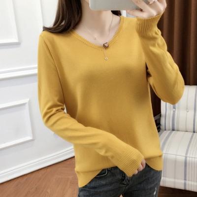 初色 V領針織毛衫-共11色-(M-2XL可選)