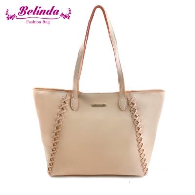【Belinda】喬安娜素面鎖縫設計手提肩背包(粉橘)