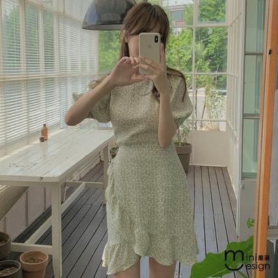 Mini嚴選-雪紡荷葉裙擺洋裝