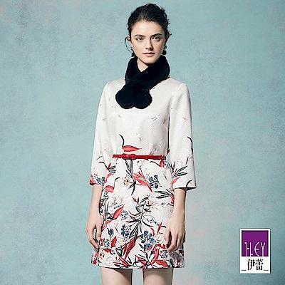 ILEY伊蕾 優雅花卉印花縫飾洋裝(米)