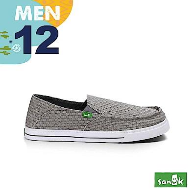 SANUK 男款US12 編織網狀窄版休閒鞋(灰色)