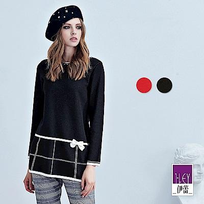 ILEY伊蕾 公主風格雙面緹織圓領毛衣(黑/紅)
