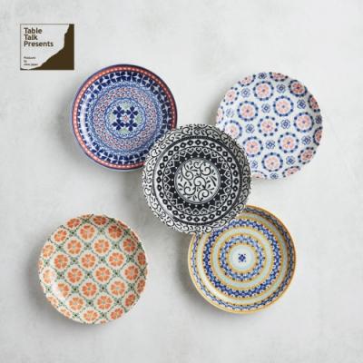 有種創意 日本美濃燒 - 心花朵朵麵包盤組15.5cm (5件式)