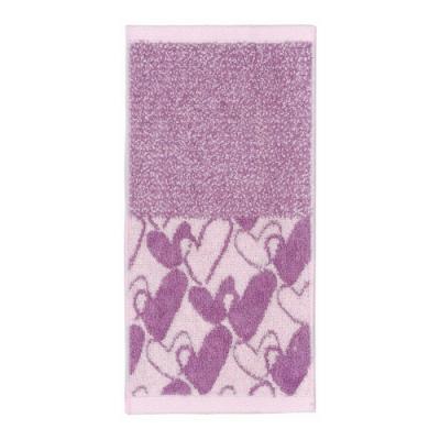 日本派迪 今治吸水速乾長方巾-紫色愛心