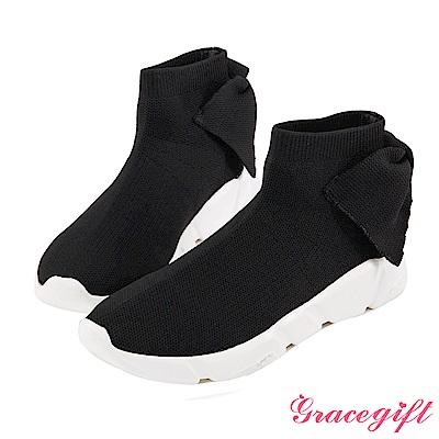 Grace gift-後蝴蝶結低筒針織襪套鞋 黑