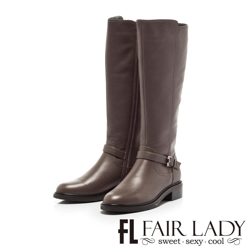 Fair Lady騎士風範皮革釦帶低跟長靴 灰