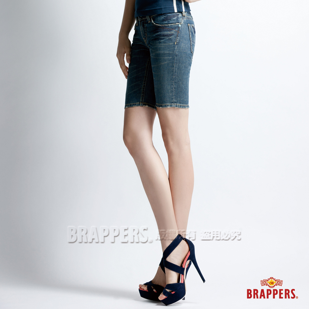 BRAPPERS 女款 新美腳二代系列-女用合身五分褲-藍