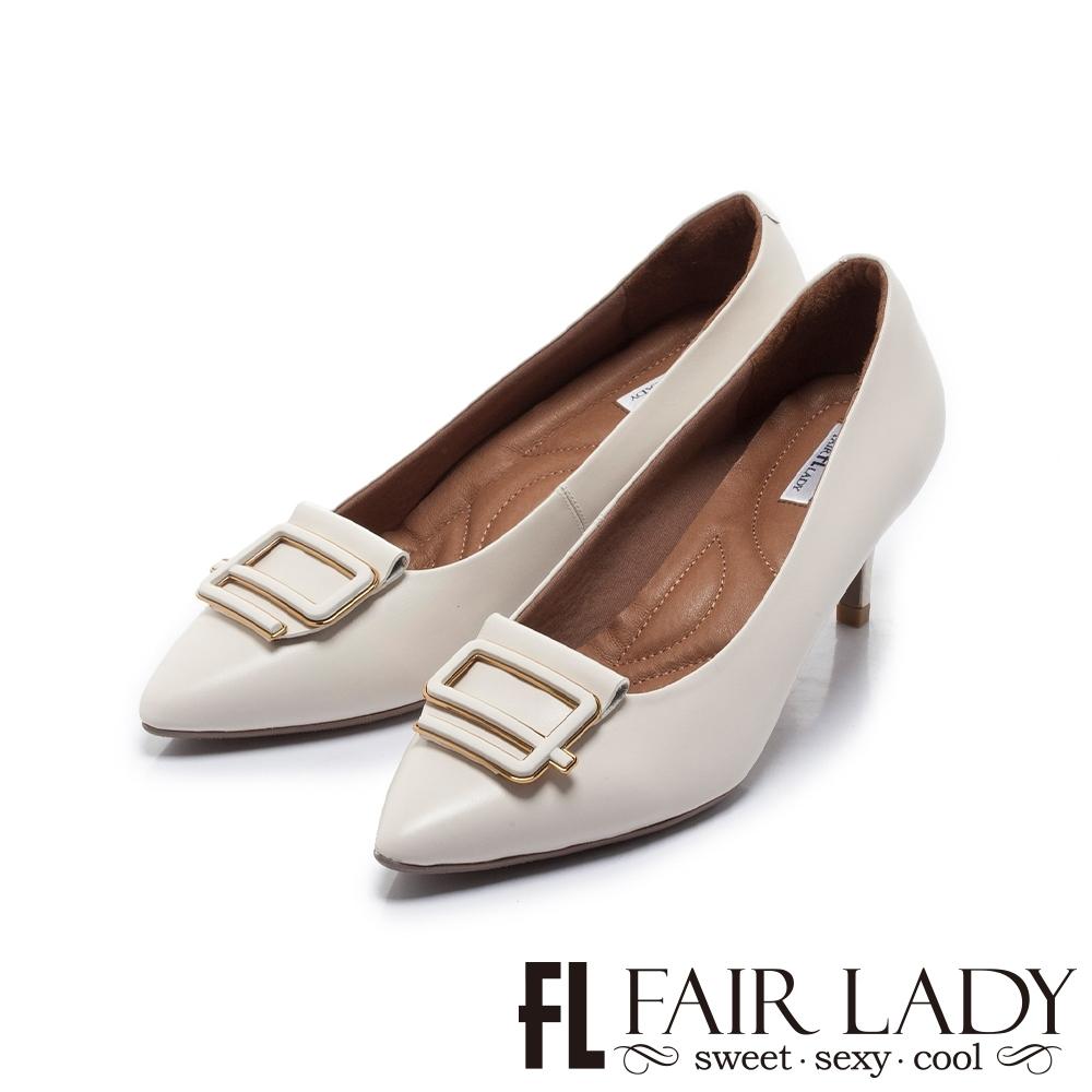 Fair Lady Soft芯太軟 不規則飾釦尖頭高跟鞋 白