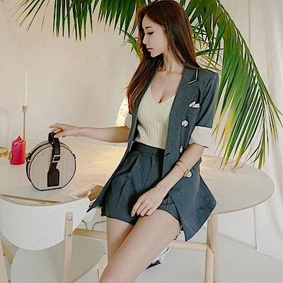 DABI 韓系雙排扣修身西裝外套短褲套裝短袖褲裝