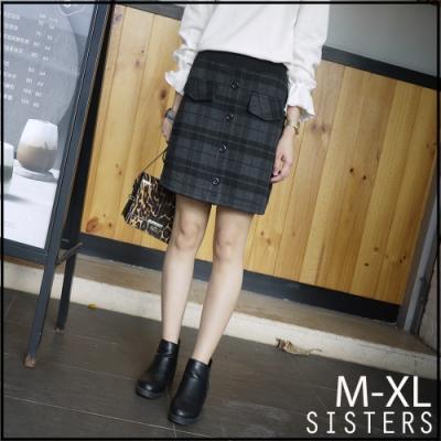 SISTERS 歐膩氣質款格紋磨毛短褲裙/M-XL
