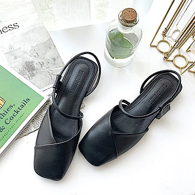 KEITH-WILL時尚鞋館 時尚元素舒適通勤亮面跟鞋-黑色