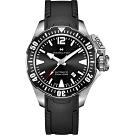 Hamilton 漢米爾頓 卡其海軍系列蛙人潛水機械錶-黑/42mm