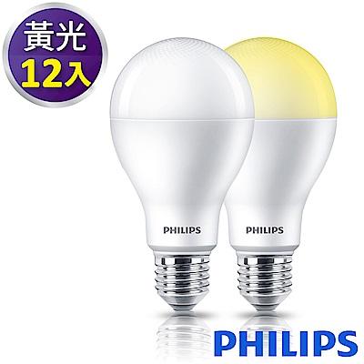 Philips飛利浦 舒視光護眼3000K 13.5W LED燈泡-黃光12入組