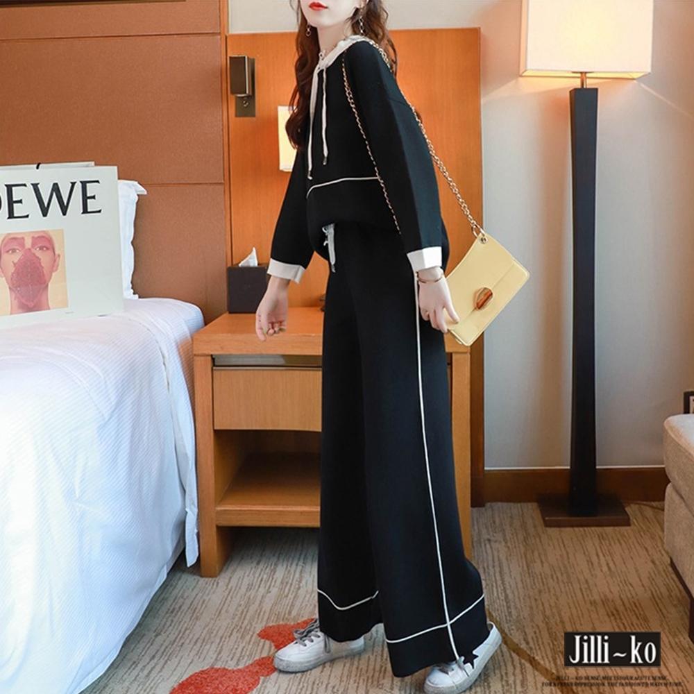 JILLI-KO 兩件套連帽衛衣寬褲套裝- 黑色