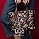 斜背方型托特包-英倫風印花經典系列-質感黑 - LiliO product thumbnail 1