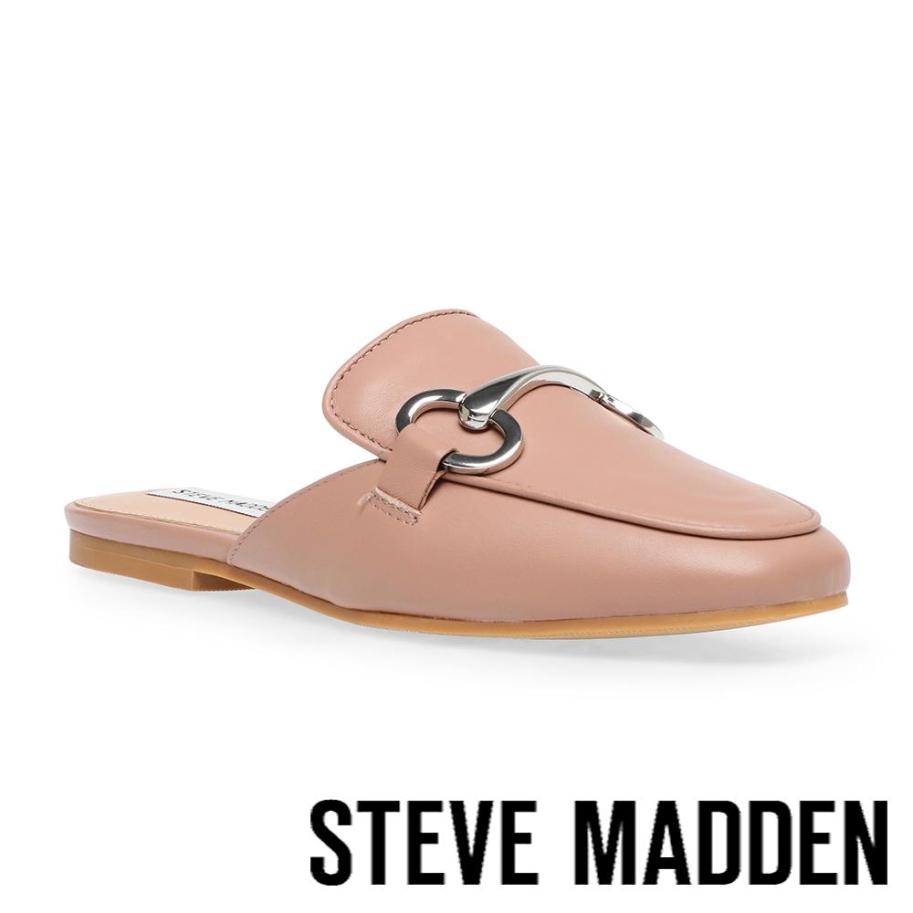 STEVE MADDEN-KELCE 飾釦皮質穆勒拖鞋-杏粉色