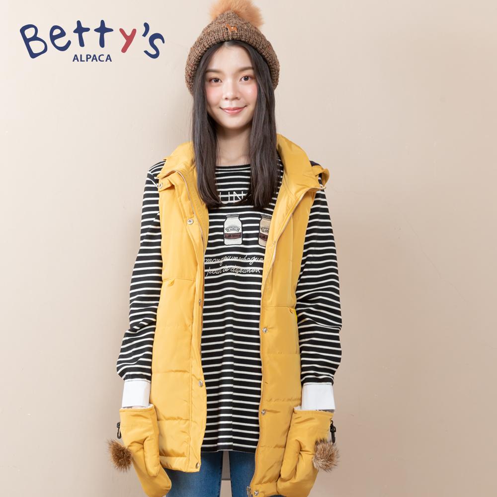 betty's貝蒂思 連帽無袖鋪棉背心外套(黃色)