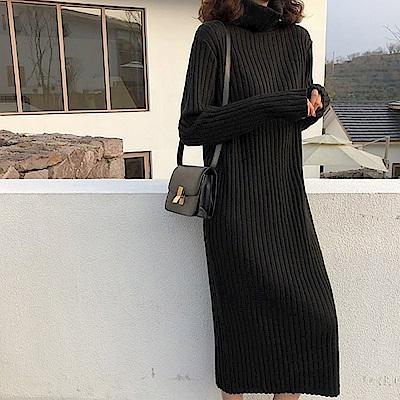 柔棉坑條高領連身裙-5色-TMH