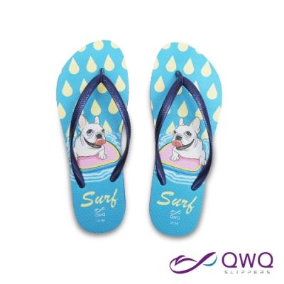 【QWQ】插圖女款夾腳人字拖鞋-法鬥系列-Surf-藍(ACBA01804)
