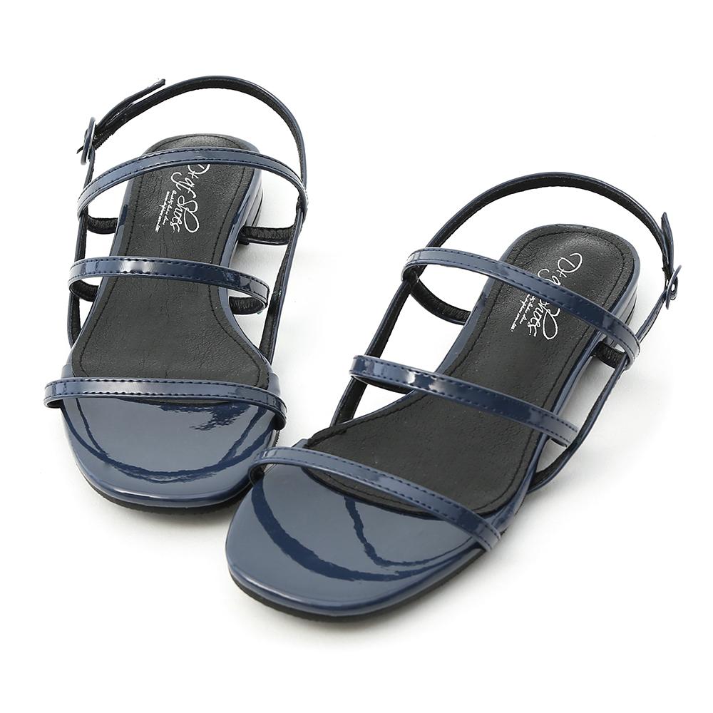 D+AF 仲夏焦點.三條帶漆皮低跟涼鞋*藍