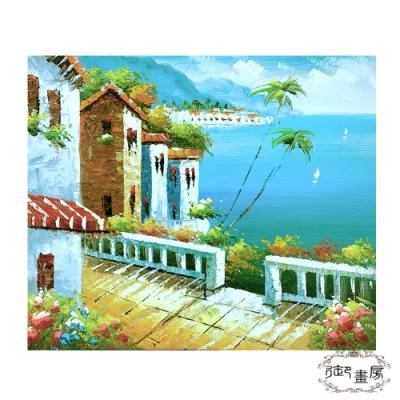 御畫房 手繪無框油畫-鄉野海景 50x60cm