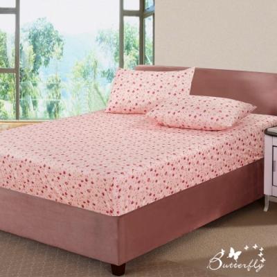 BUTTERFLY-台製40支紗純棉-薄式加大雙人床包枕套三件組-碎花戀-粉