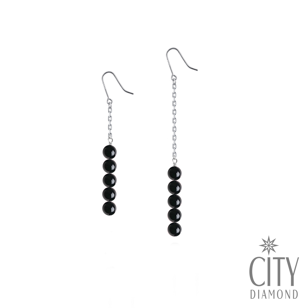 City Diamond引雅【手作設計系列】天然黑瑪瑙不對稱長掛型耳環
