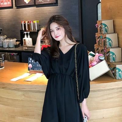 IMStyle 時尚寬鬆V領蝙蝠袖縮腰連身裙【正品】