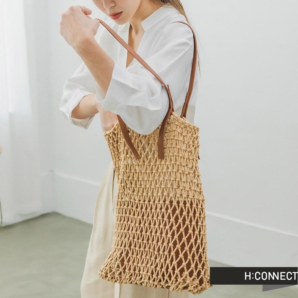 H:CONNECT 韓國品牌配件 -皮革拼接編織網包
