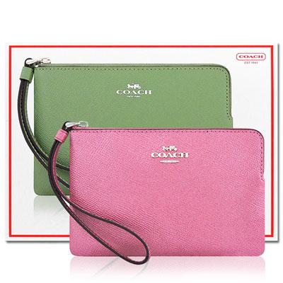 COACH 櫻花粉色光澤防刮皮革手拿包+COACH 綠色防刮皮革手拿包