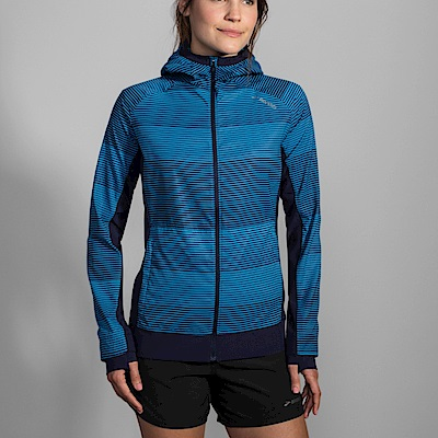 BROOKS 女 CANOPY 防風防水外套 條紋藍 (221221421)